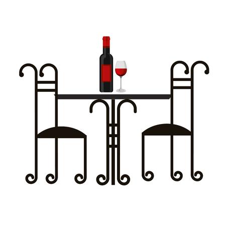 Table et chaises vintage bouteille de vin et tasse illustration vectorielle Banque d'images - 99617209