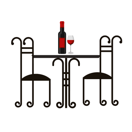 vintage table and chairs wine bottle and cup vector illustration