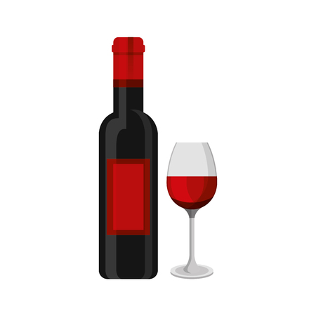 red wine bottle and glass cup drink vector illustration