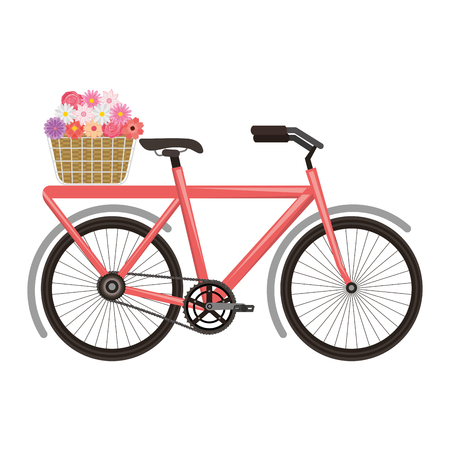 vintage bycicle with basket flowers romantic vector illustration 일러스트