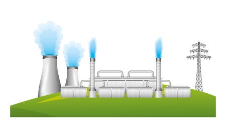 Cheminée et tour d'énergie nucléaire conception illustration vectorielle électrique