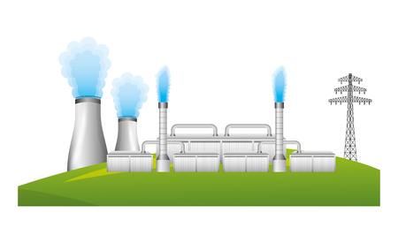 nuclear energy chimney and tower electric vector illustration design Illustration