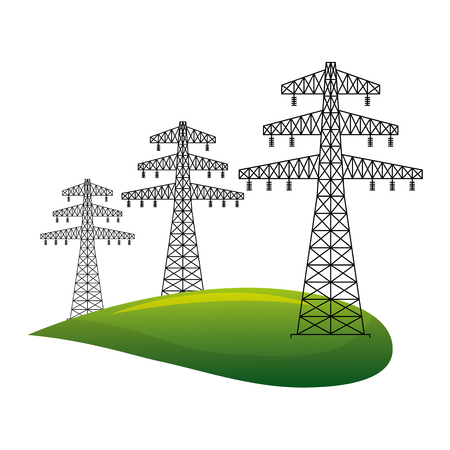 electric towers energy over grass vector illustration design