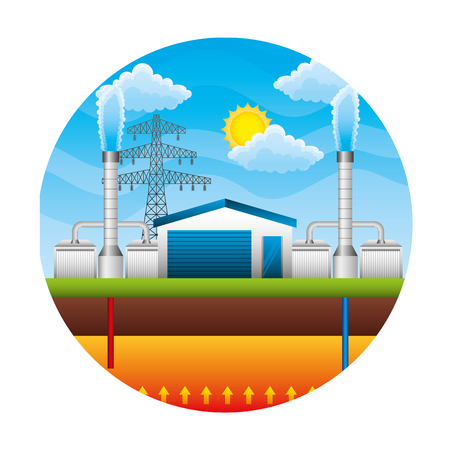 electric towers energy over landscape vector illustration design Illustration