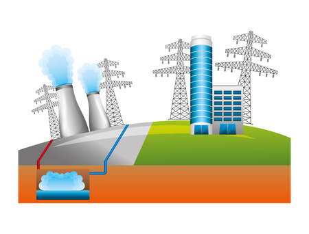 Nuclear energy chimney with buildings and towers illustration design