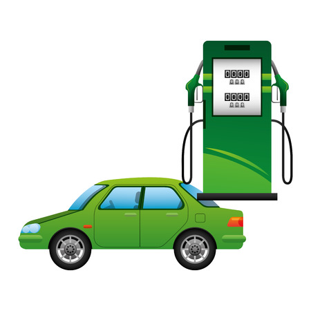 Energy fuel pump with car  illustration design Stock Illustratie