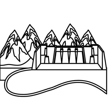 Wasserkraft Damm mit Landschaft Vektor-Illustration Design Standard-Bild - 99617730