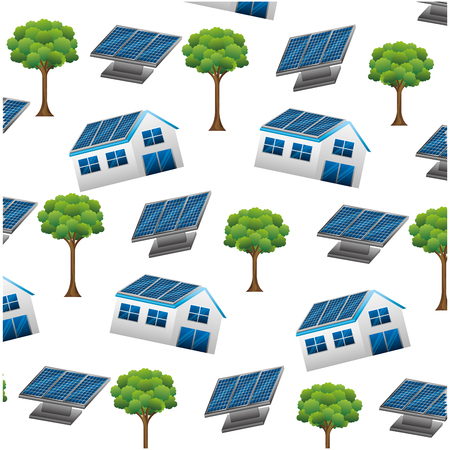 panels solar with house and tree ecology energy pattern vector illustration design