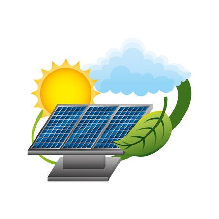 panels solar with leaf and sun ecology energy vector illustration design Ilustração