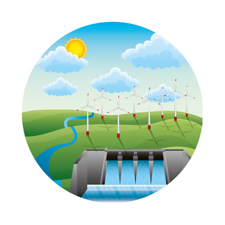 hydroelectric dam with landscape vector illustration design