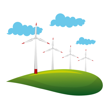 landscape with turbines energy power vector illustration design Illustration