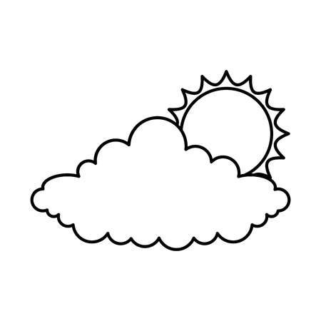 cloud with sun climate isolated icon illustration design