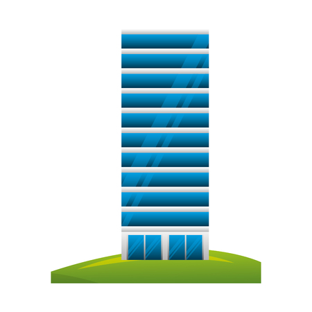 big building structure with grass vector illustration design