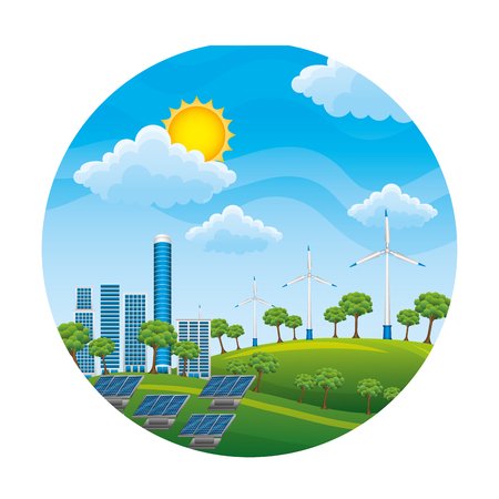 landscape with turbines energy power vector illustration design Ilustrace