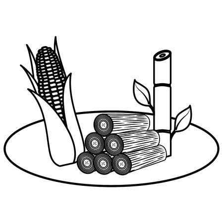 Troncos de madera con caña de azúcar y maíz, diseño de ilustraciones vectoriales Foto de archivo - 99617807