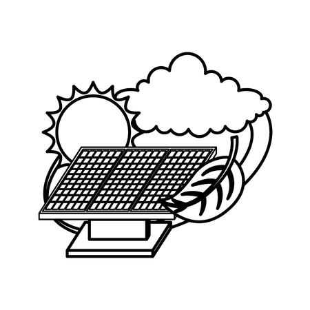 panels solar with leaf and sun ecology energy vector illustration design Illustration