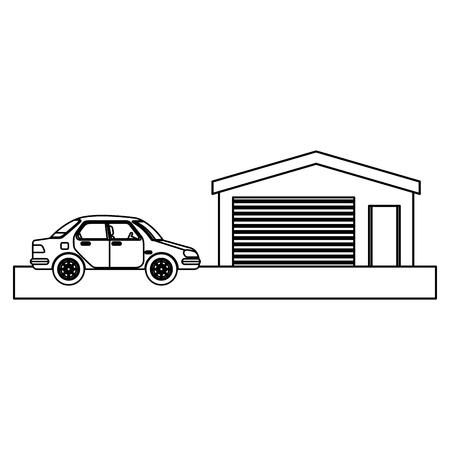 garage building facade with car vector illustration design Ilustração