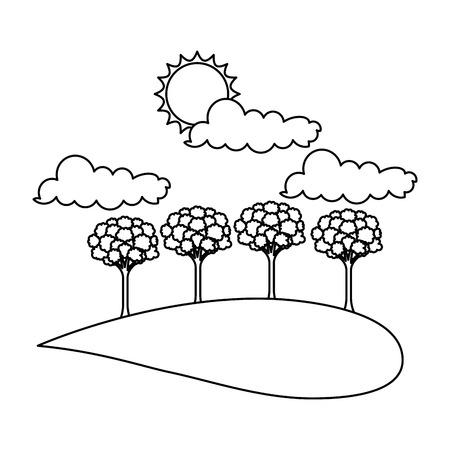 Landscape with trees and sun vector illustration design Çizim