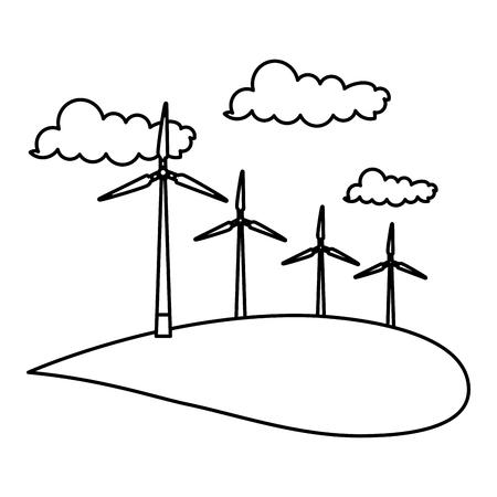Landscape with turbines vector illustration design