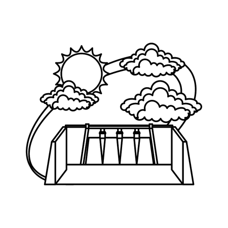 Hydroelectric dam with clouds and sun vector illustration design