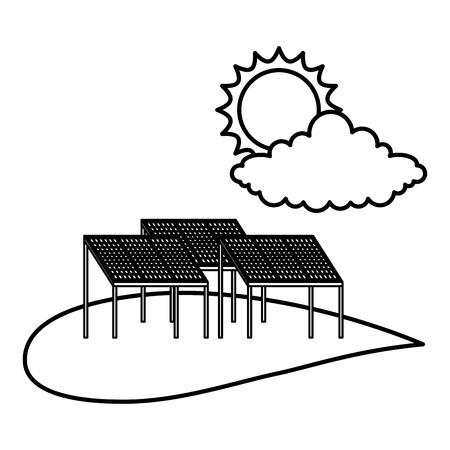 Field with solar panels vector illustration design