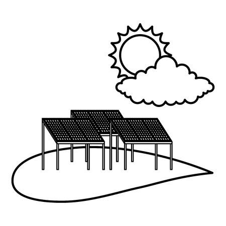 Field with solar panels vector illustration design