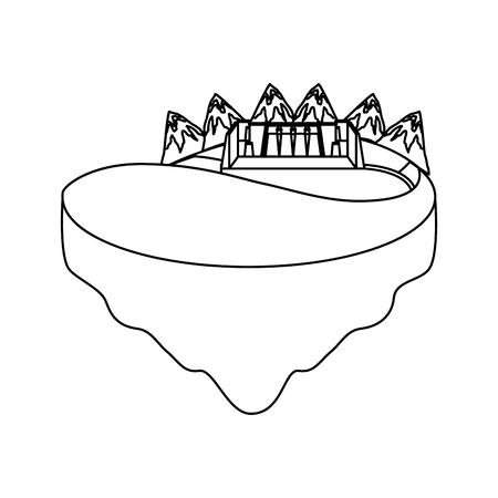 Hydroelectric dam on terrain vector illustration design Illustration