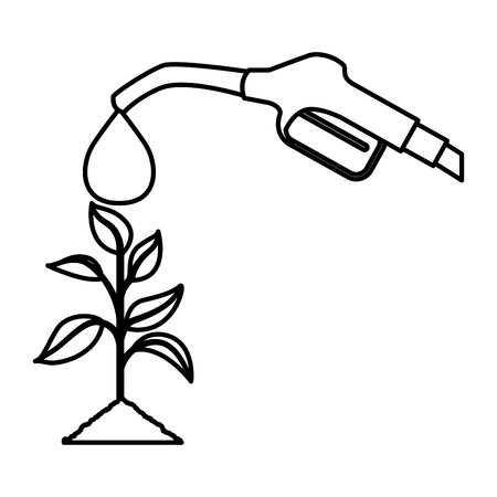 Fuel with plant vector illustration design