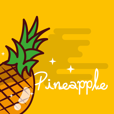 Pineapple fruit delicious shiny poster vector illustration Illusztráció