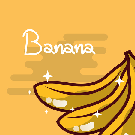 Banana fruit delicious shiny poster vector illustration Illusztráció