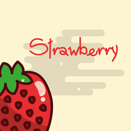 Strawberry fruit delicious shiny poster vector illustration