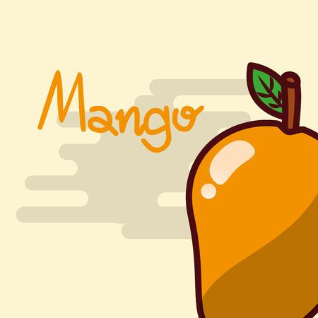 Mango fruit delicious shiny poster vector illustration Ilustração