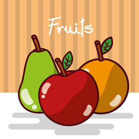 Delicious fruits shiny poster vector illustration Illustration