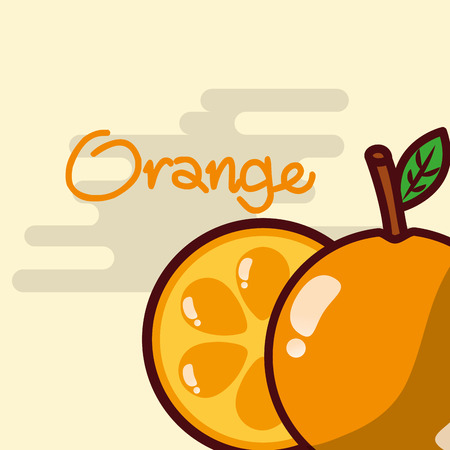 Orange, whole and sliced fruit delicious shiny poster vector illustration Stock Vector - 99648740