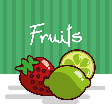 Strawberry and lemon fruits vector illustration Stock Illustratie
