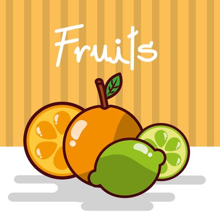 Orange and lemon fruits vector illustration Ilustração