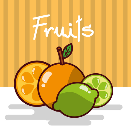 Orange and lemon fruits vector illustration Stock Illustratie