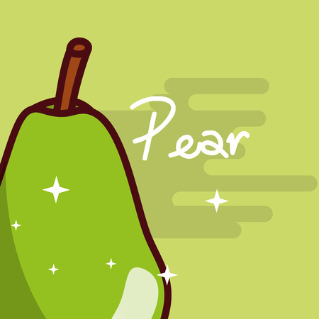 Pear fruit delicious shiny poster vector illustration 向量圖像