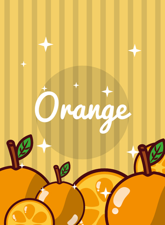 Fresh natural oranges vector illustration