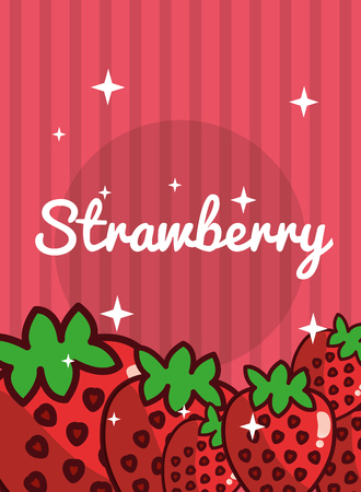 striped bright background fresh natural fruits strawberry vector illustration