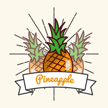 pineapple fruit organic vitamins emblem vector illustration