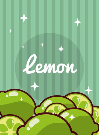 striped bright background fresh natural fruits lemon vector illustration