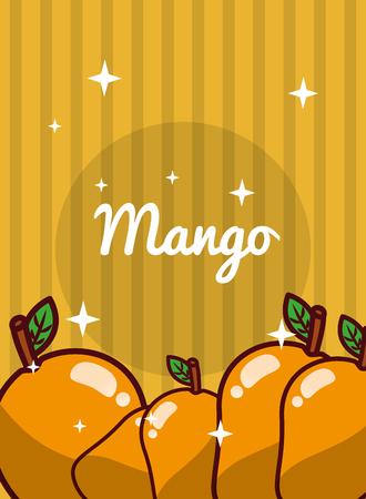 striped bright background fresh natural fruits mango vector illustration