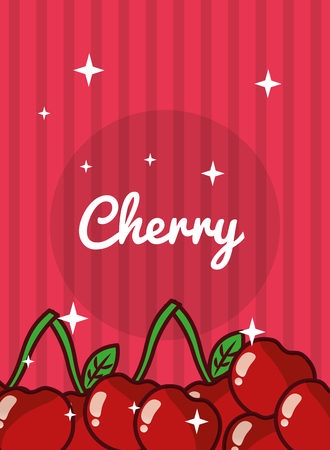 striped bright background fresh natural fruits cherry vector illustration