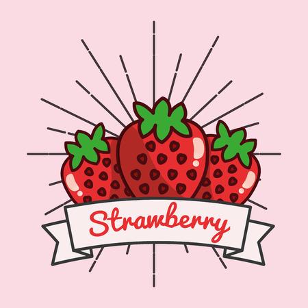strawberry fruit organic vitamins emblem vector illustration Reklamní fotografie - 99618735