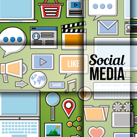 People social media networks icons tools background red vector illustration