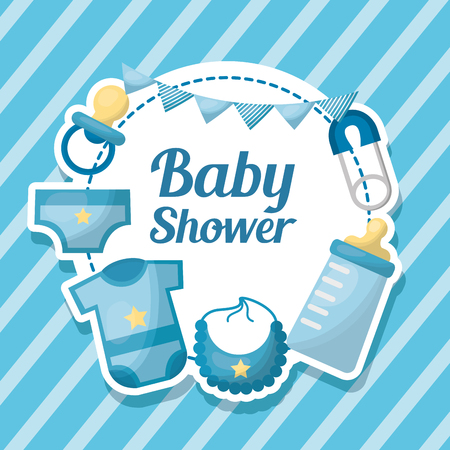 Baby shower card stripe background label with clothes bib diaper pacifier vector illustration Illustration