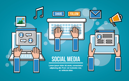 People social media networks devices advertising music email vector illustration