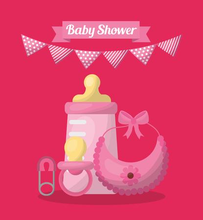 Fondo de diseño de tarjeta de plantilla de baby shower rosa Foto de archivo - 99611863