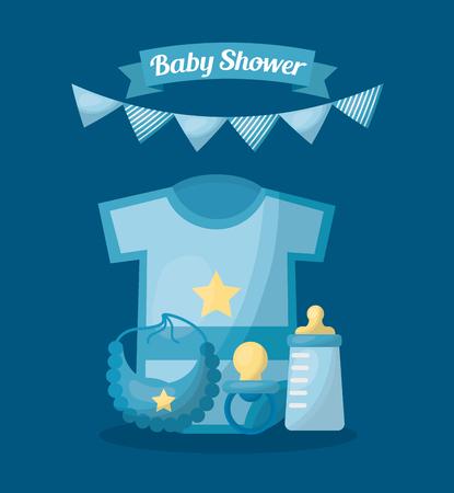 Baby shower card boy celebration blue background shirt pacifier bottle milk bib pennants vector illustration Иллюстрация